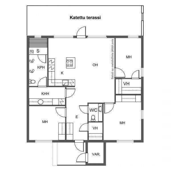 Paritalot: Nummitie 24 ja 26: Pohjapiirrustus A talot