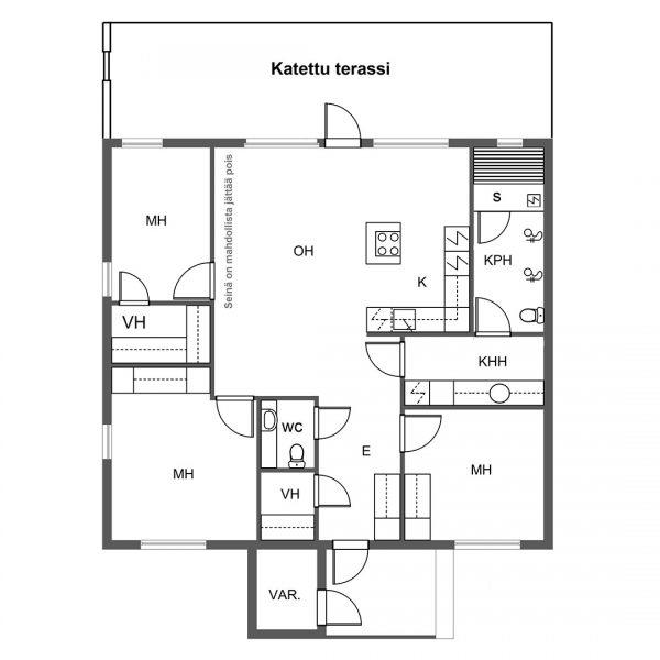 Paritalot: Nummitie 24 ja 26: Pohjapiirrustus B talot